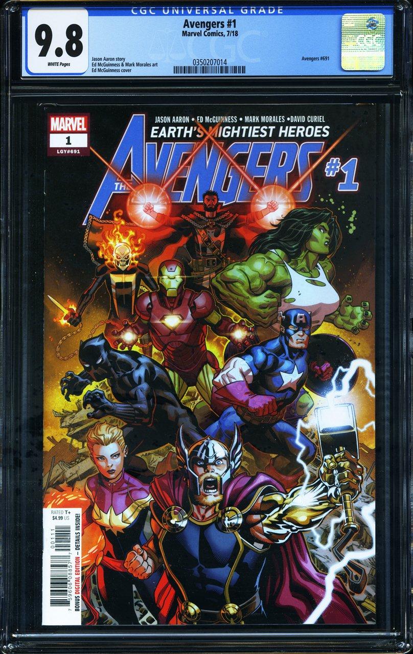 Avengers #1 - CERTIFIED CGC 9.8 - Marvel Comics - 2018 Captain America Incredible Hulk Iron Man Black Panther