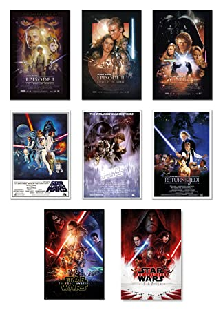Star Wars Episode I, II, III, IV, V, VI, VII VIII – Movie Poster Set 8 Individual Full Size Movie Posters – Version 2 Size 24 inches x 36 inches Each