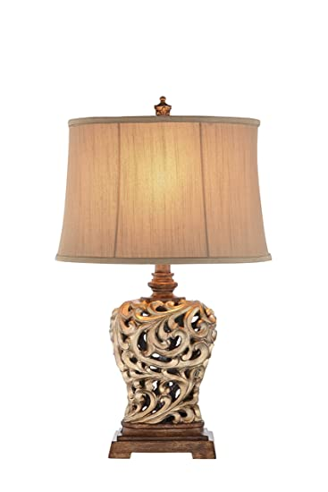 Attractive Illuminada 19085 001 3 Way 28.5 Inch Open Scroll Table Lamp And Soft