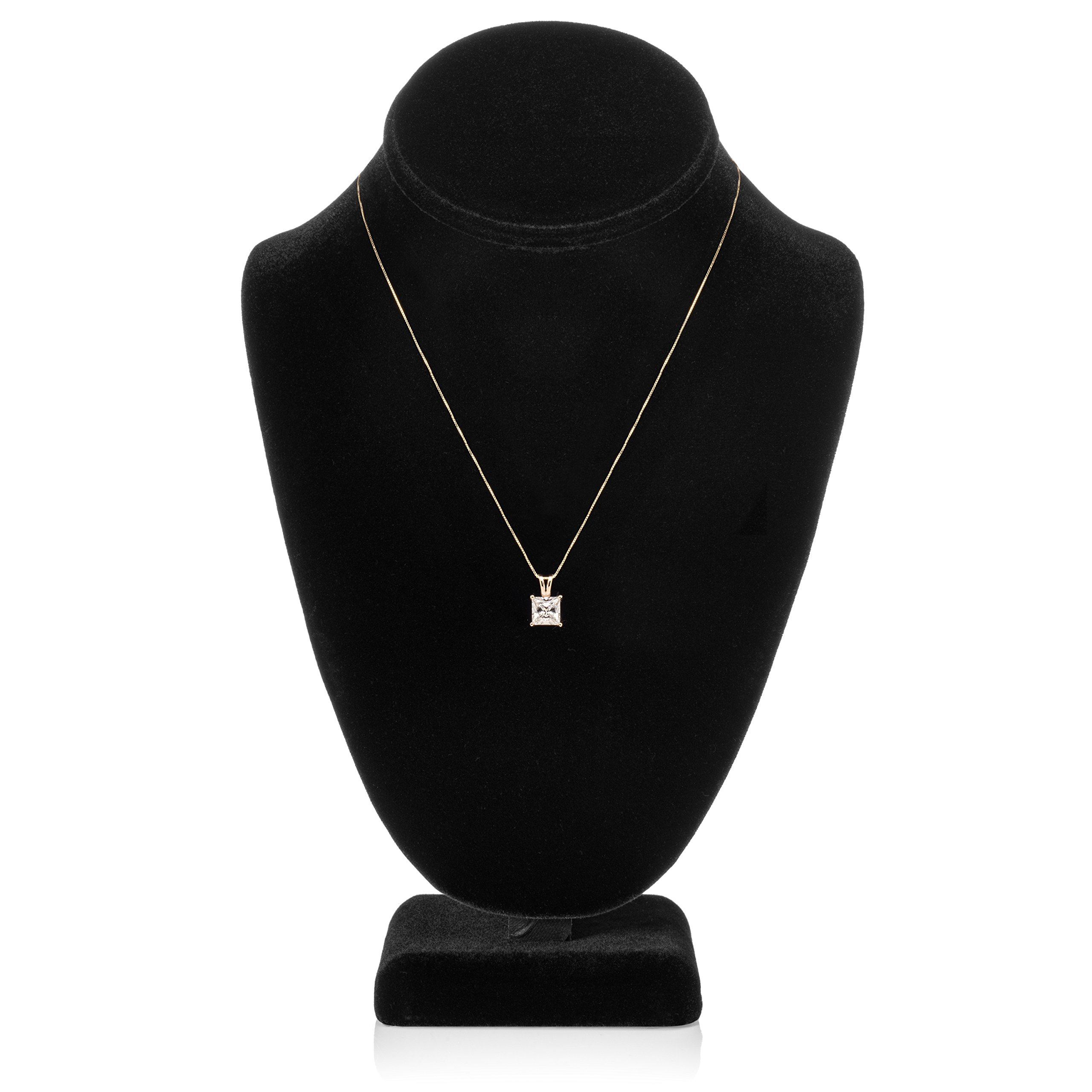 14K Solid Yellow Gold Princess Cut Cubic Zirconia Solitaire Pendant Necklace (2 Carat), 16 inch .50mm Box Link Chain, Gift Box by Everyday Elegance Jewelry (Image #5)