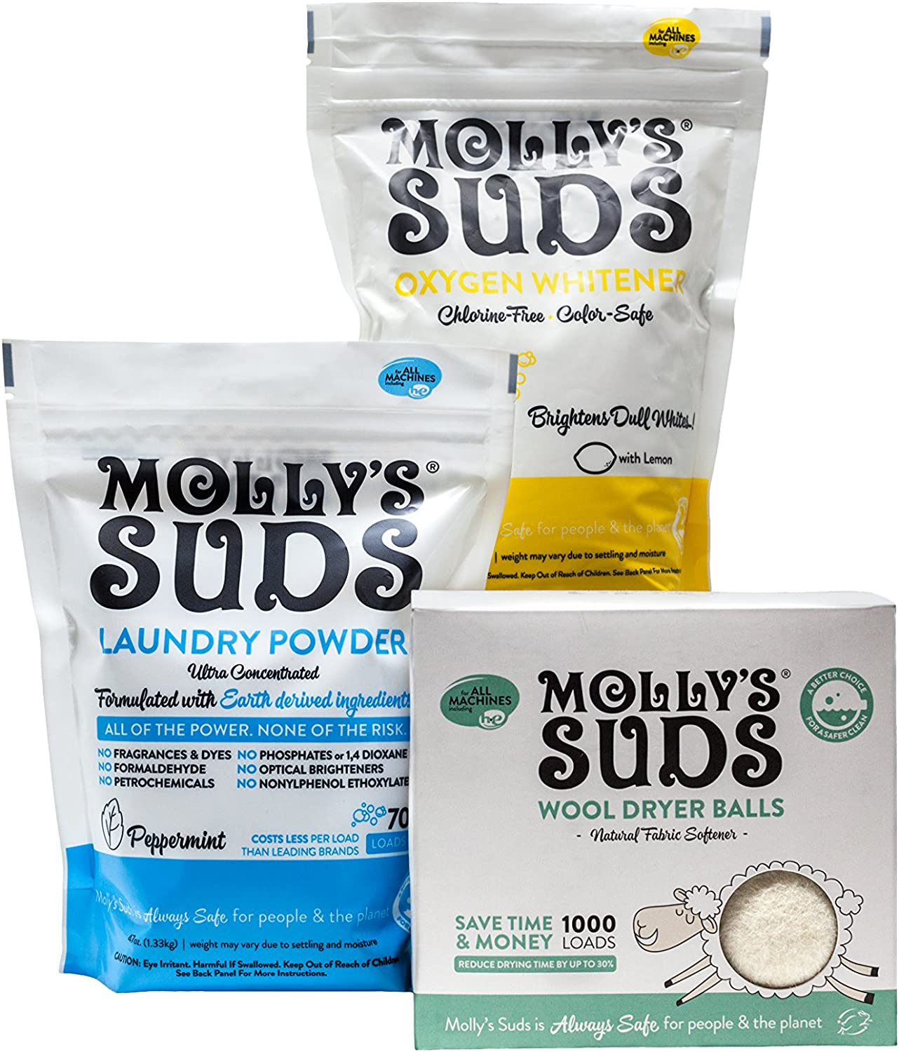 Molly's Suds Starter Pack - 70 Load Natural Laundry Powder, 1 Package of Wool Dryer Balls and 1 Oxygen Whitener.