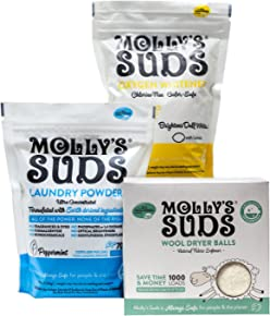 Molly's Suds Starter Pack - 70 load All Natural Laundry Powder, 1 Package of Wool Dryer Balls and 1 Oxygen Whitener.