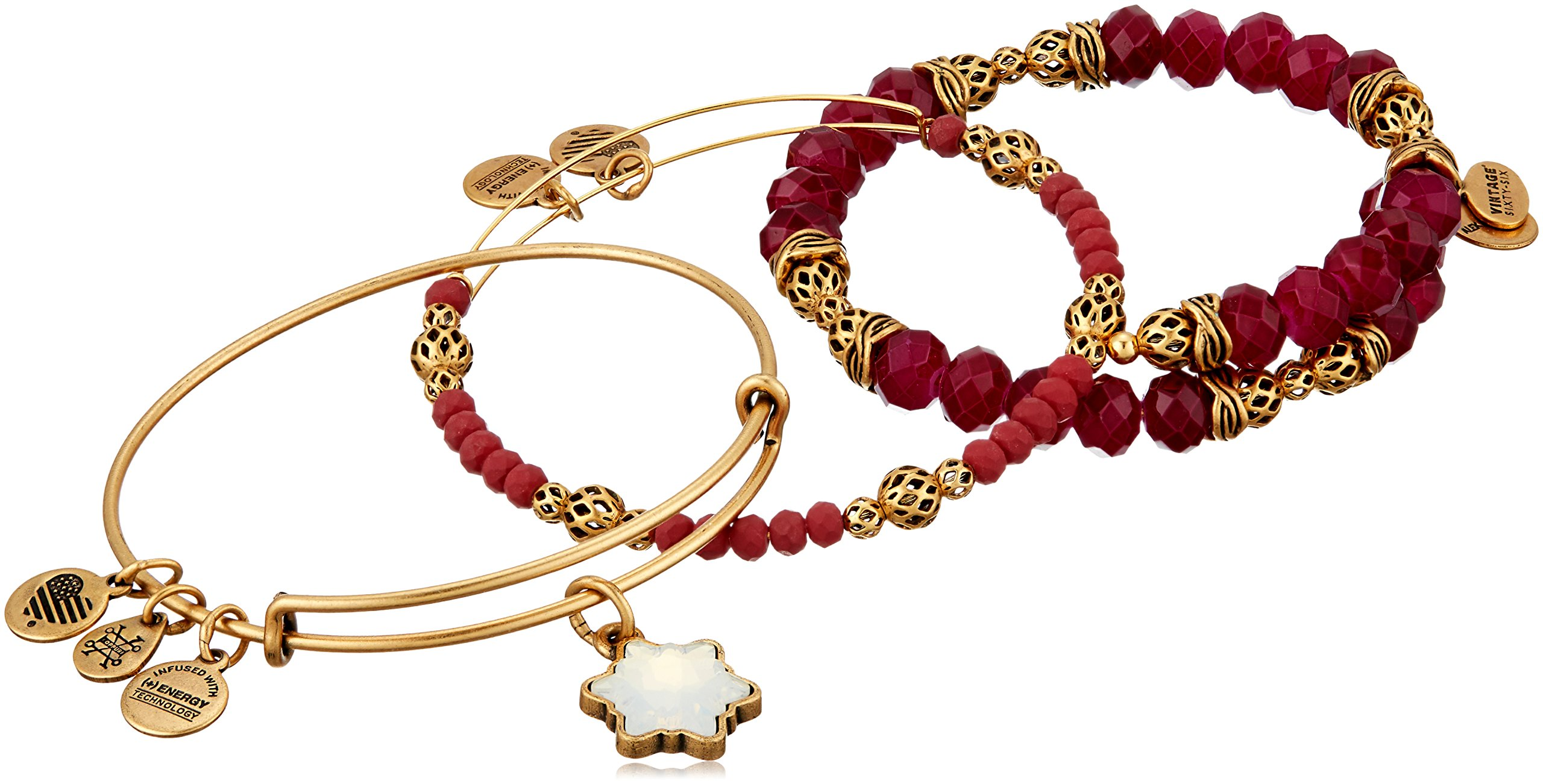 Alex and Ani Snowflake Set of 3 Rafaelian Gold Bangle Bracelet