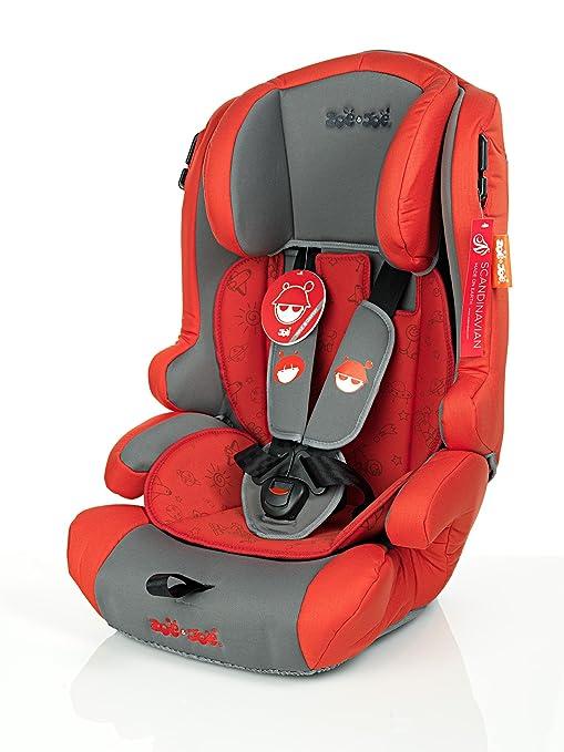 ZOE&JOE Scandinavian ZJ213 Silla de coche para niños - Grupos 1, 2 y 3 de 9-36 kg ROJA y GRIS.