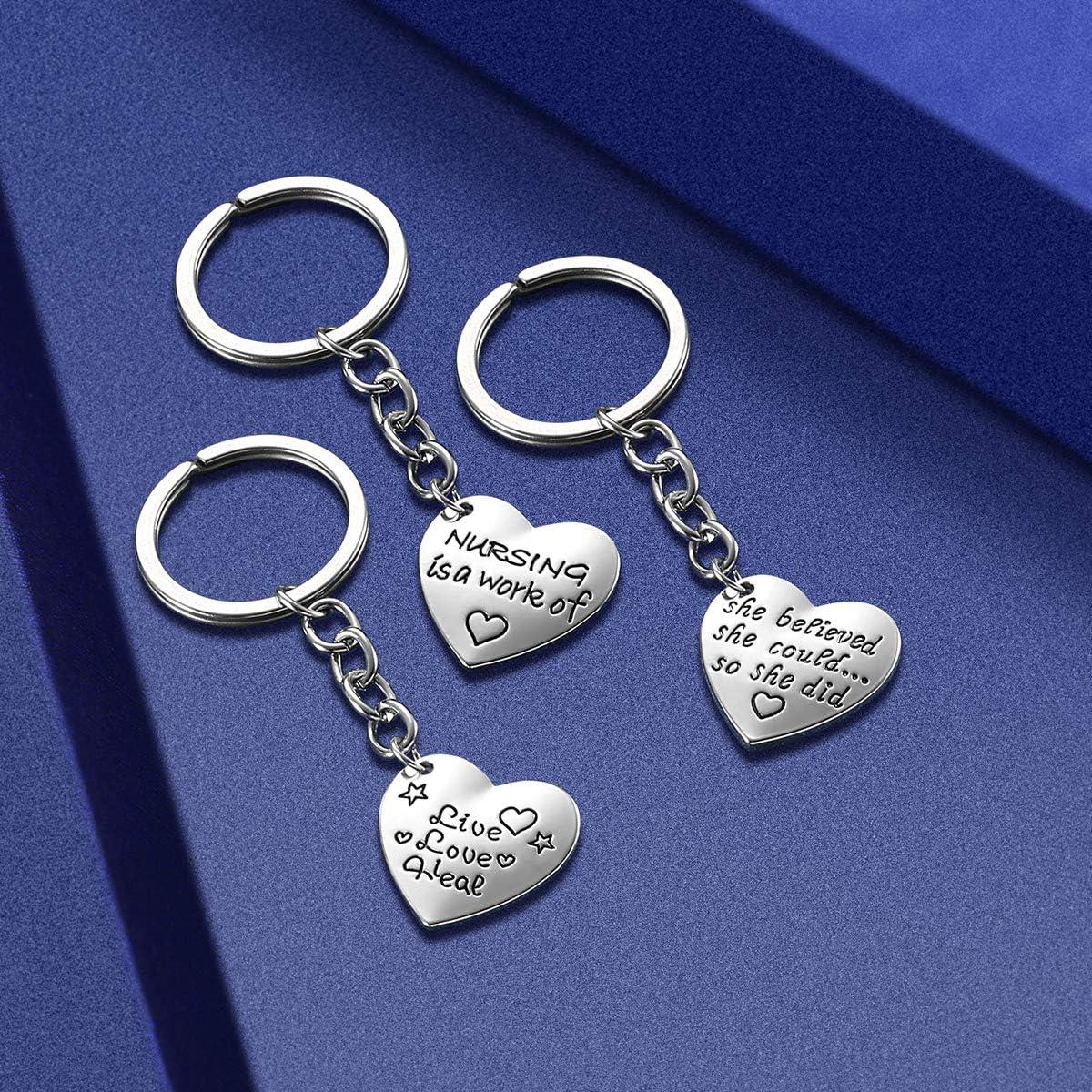 Nurse Gifts for Women - Nurse Keychain Pack of 3PCS, Nursing Graduation Gifts, Valentines Birthday Gift for Nurses Practitioner, Blue Pink White ...