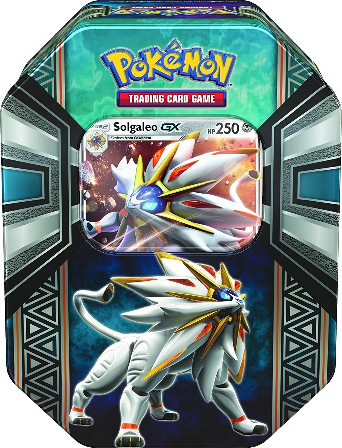 Pokemon TCG: Legends of Alola Solgaleo-GX Tin   Collectible Trading Card Set   4 Booster Packs, 1 Ultra Rare Foil Promo Card Featuring Solgaleo-GX, Online Code Card   Battle and Build Your Pokedex Excell Marketing L.C. us toys 097712535241