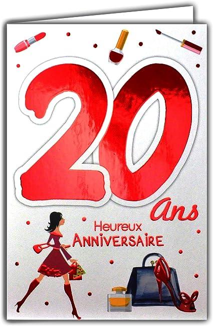 carte anniversaire 20 ans fille 69 2122 Carte Anniversaire 20 ans Fille Jeune Femme   Chaussures