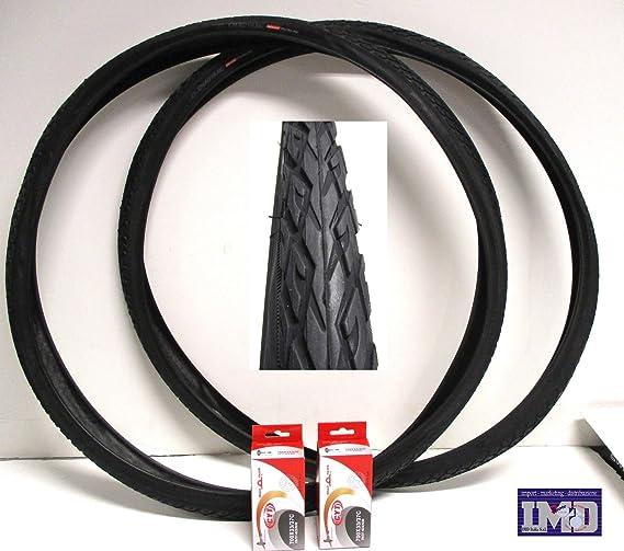 2 x Neumáticos + 2 x Cámaras de aire para bici bicicleta / Tamaño 28 x 1 5/8 - 1 3/8 (700 x 35) - en negro ...