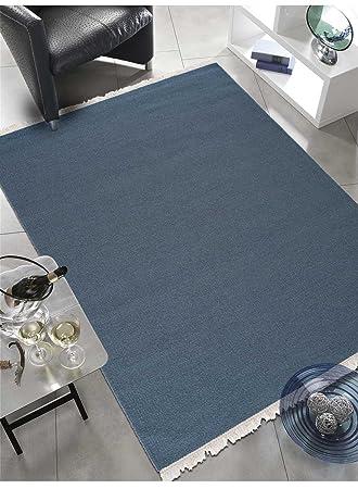 Amazon De Kelim Teppich Uni Rainbow In Wolle Durch Linie Design