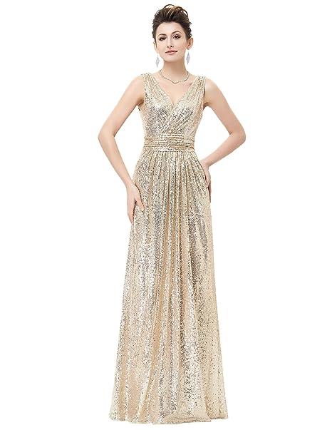 Vestido lentejuelas Fiesta Noche boda gitana hasta talla 50 (42, Dorado)