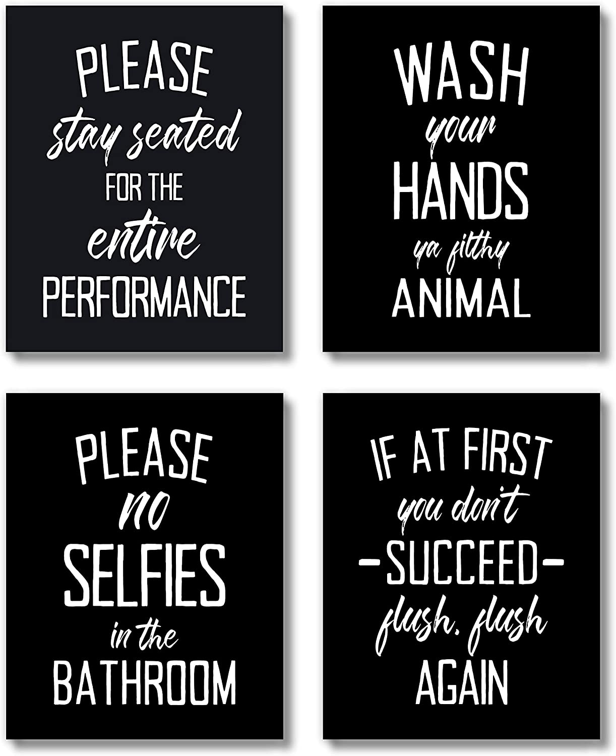 Brooke & Vine Funny Bathroom Decor Wall Art Prints (UNFRAMED 8 x 10 Set of 4) Restroom Powder Room Wash Laundry Room Farmhouse Wall Decor Signs Posters - Wash Your Hands - Black