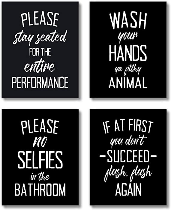 The Best Black And White Typography Bathroom Wall Decor