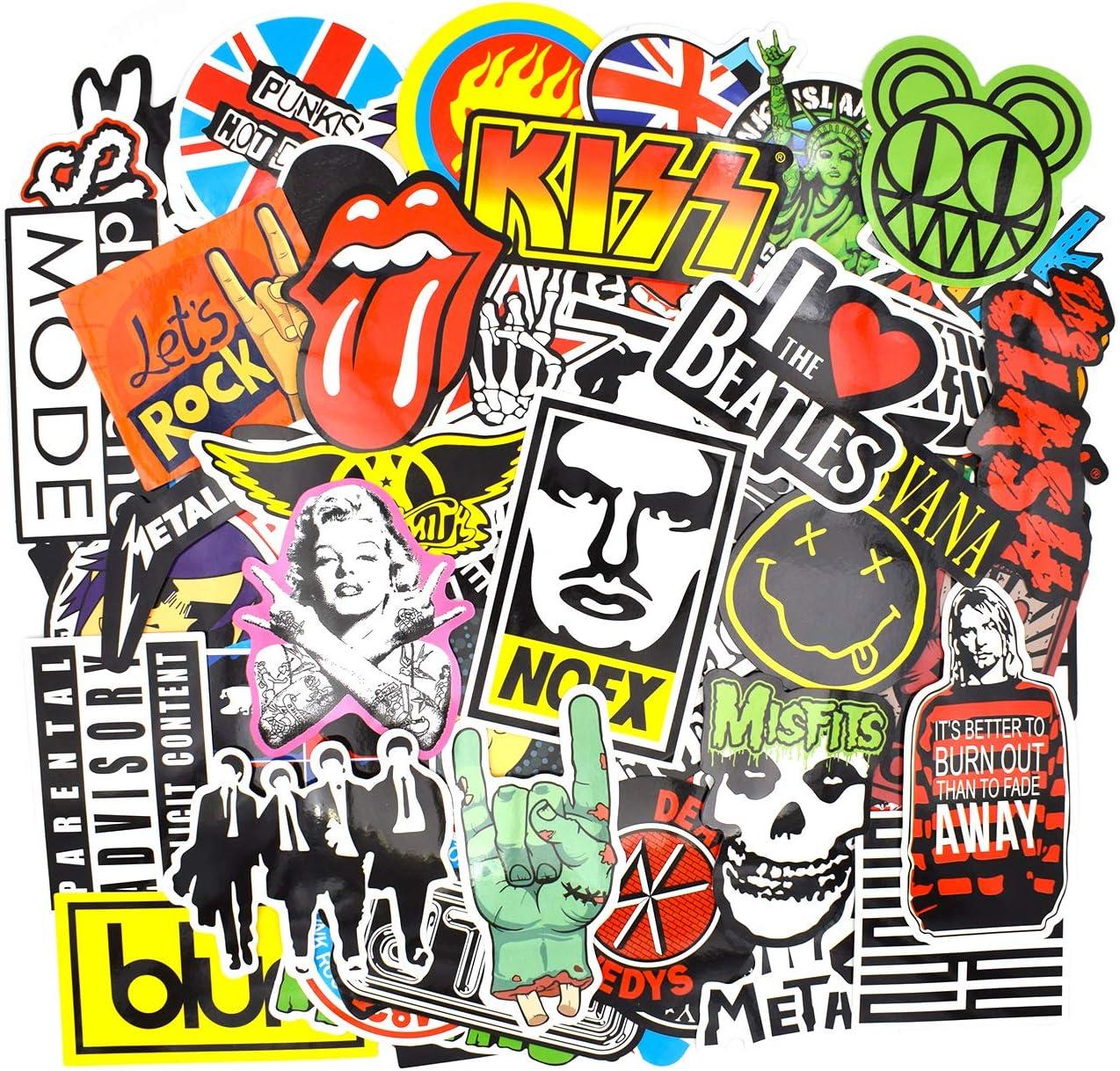 Riao-Tech 100pcs Vintage Stickers Laptop Guitar Travel Case Band Rock Roll World Tour Stickers Gift-Pocket(Vintage E)
