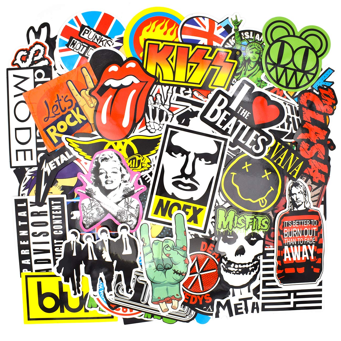 Riao-Tech 100pcs Vintage Stickers Laptop Guitar Travel Case Band Rock Roll World Tour Stickers Gift-Pocket(Vintage E)