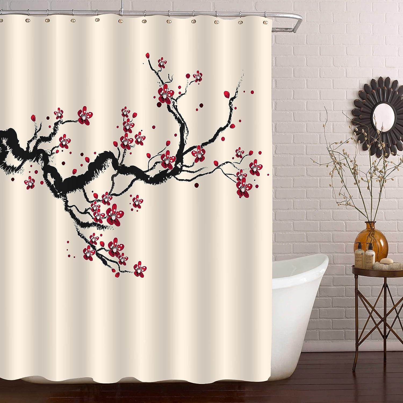 "71/"" Lantern Cherry Blossom Flower Waterproof Fabric Shower Curtain With 12 Hooks"