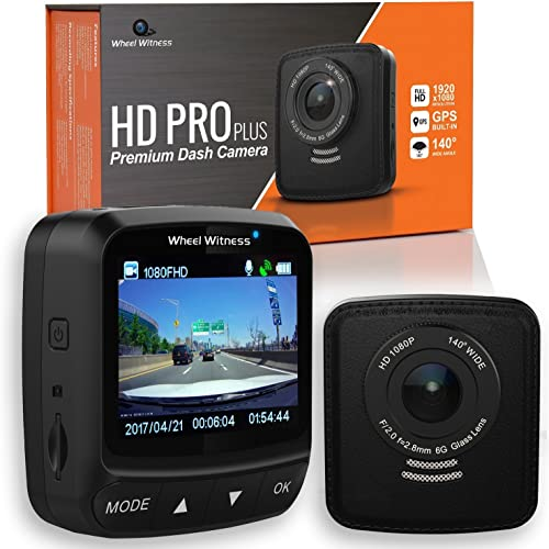 WheelWitness HD PRO Plus Premium Dash Cam w WiFi GPS, iPhone Android Compatible, Sony Exmor Sensor, Dashboard Camera G Sensor, Night Vision for Uber Lyft Trucks and Semis