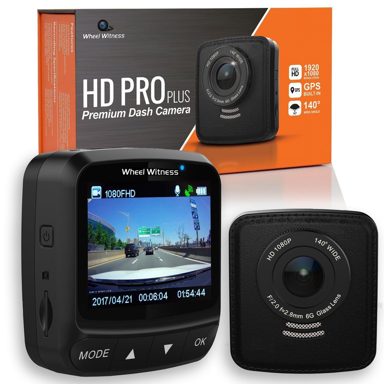 WheelWitness HD PRO Plus Premium Dash Cam w/WiFi & GPS, iPhone Android Compatible, Sony Exmor Sensor, Dashboard Camera G Sensor, Night Vision for Uber Lyft Trucks and Semis by WheelWitness