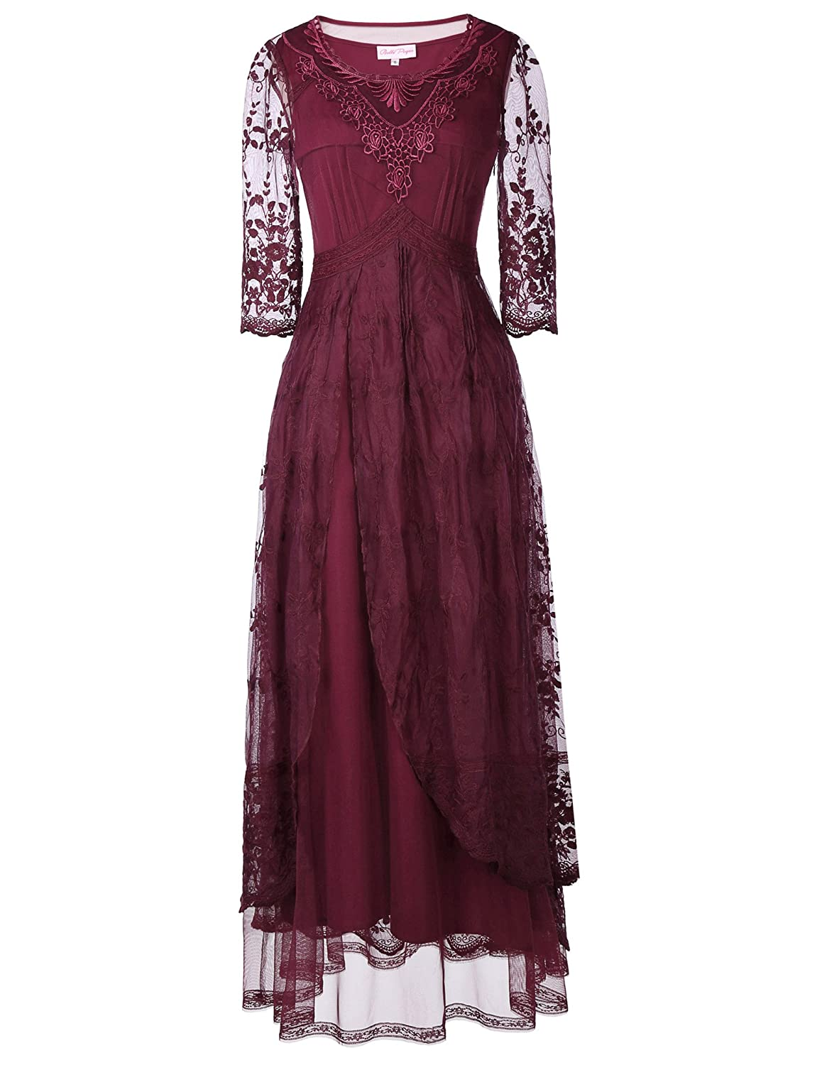 Edwardian Ladies Clothing – 1900, 1910s, Titanic Era Belle Poque Steampunk Victorian Titanic Lace Maxi Dress Tea Party Gown Antique Dress $43.99 AT vintagedancer.com