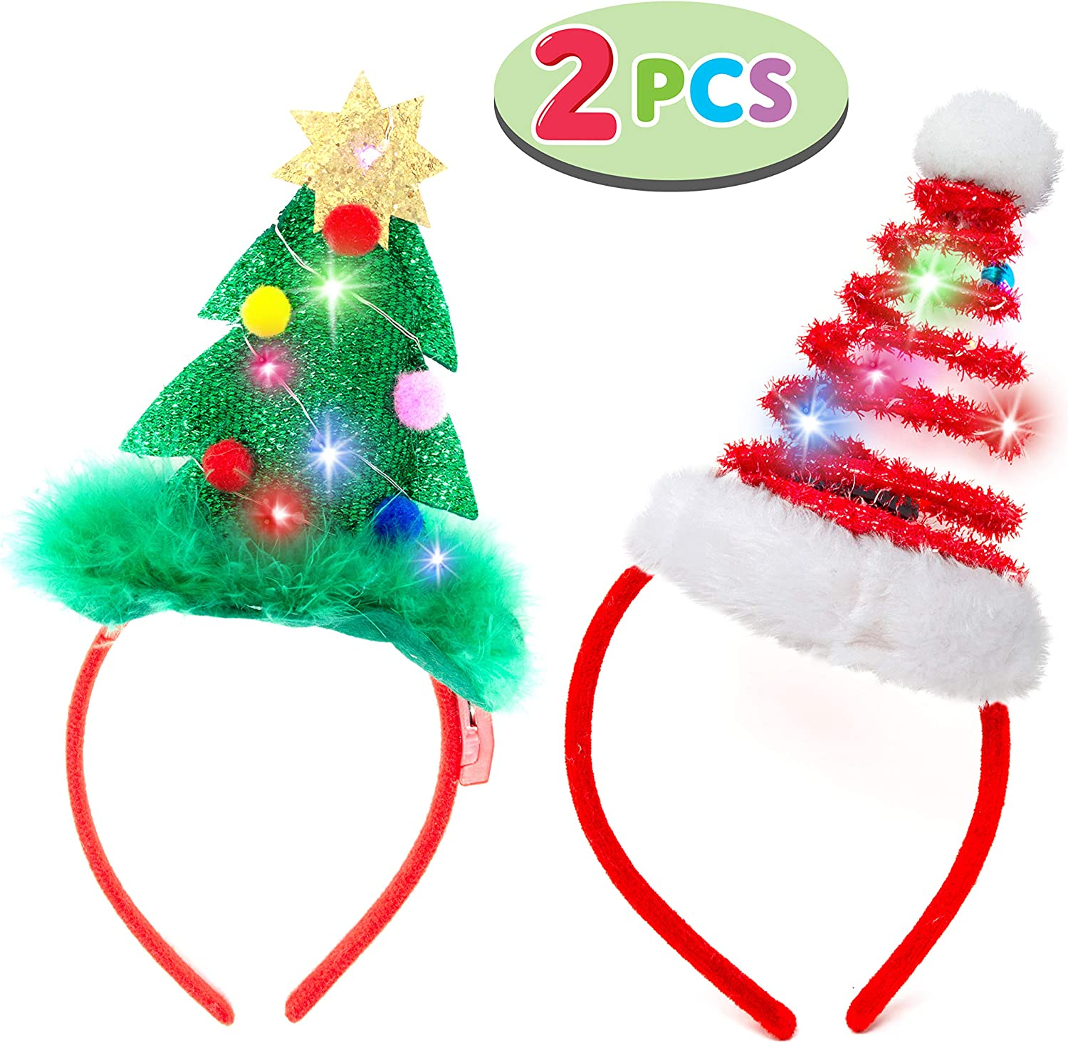 Headband For Women LED Light Up Christmas Reindeer Headwear For Holiday Party