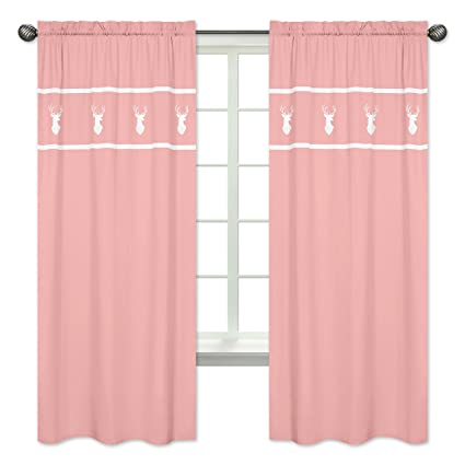 Sweet Jojo Designs 2-Piece Coral White Deer Girls Bedroom Decor Window Treatment Panels for Coral, Mint and Grey Woodsy Collection