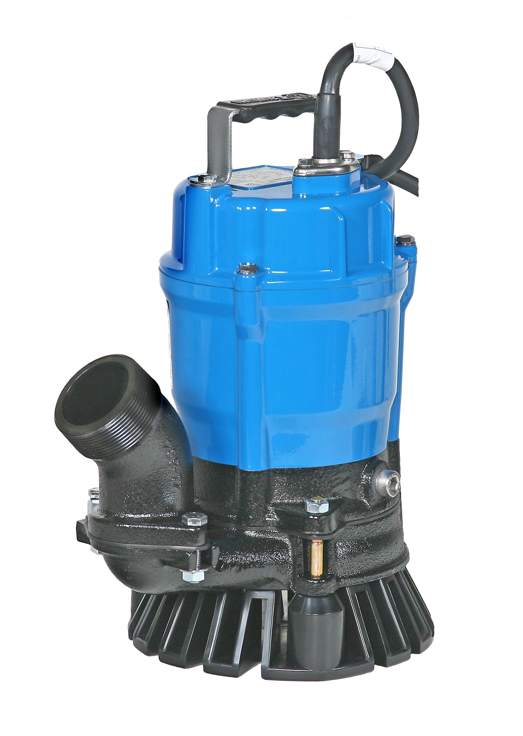 Tsurumi HS2.4S-62 Semi-Vortex Submersible Trash Pump with Agitator, 2'', 1/2 HP