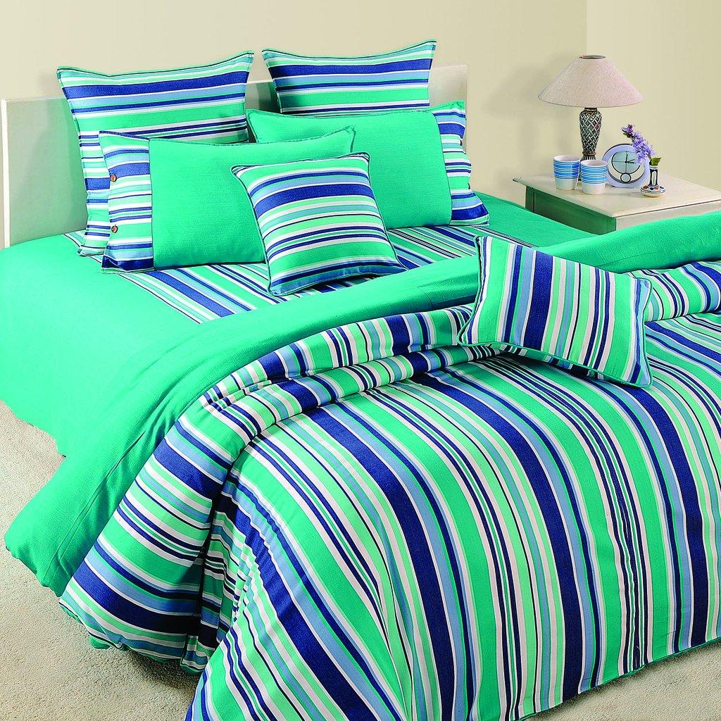Yuga 8 Pieces Bed In Bag Set Printed Sea Green Cotton Material Comforter Bedding Set
