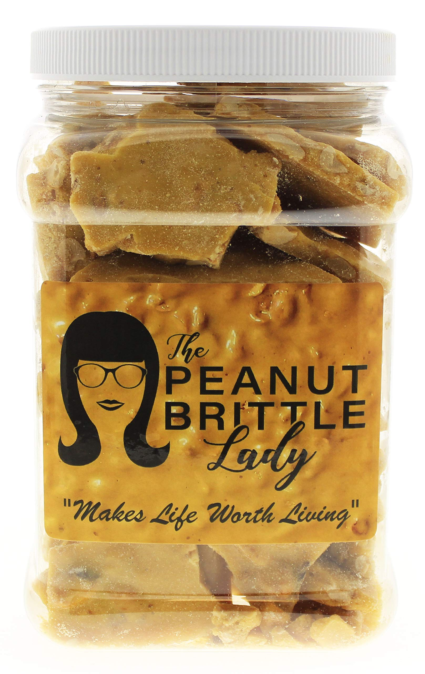 Top Shelf Handmade Gourmet Peanut Brittle Candy, Small Batch, Homemade; Size: Happy Gal (1/2 Gallon) by Peanut Brittle Lady