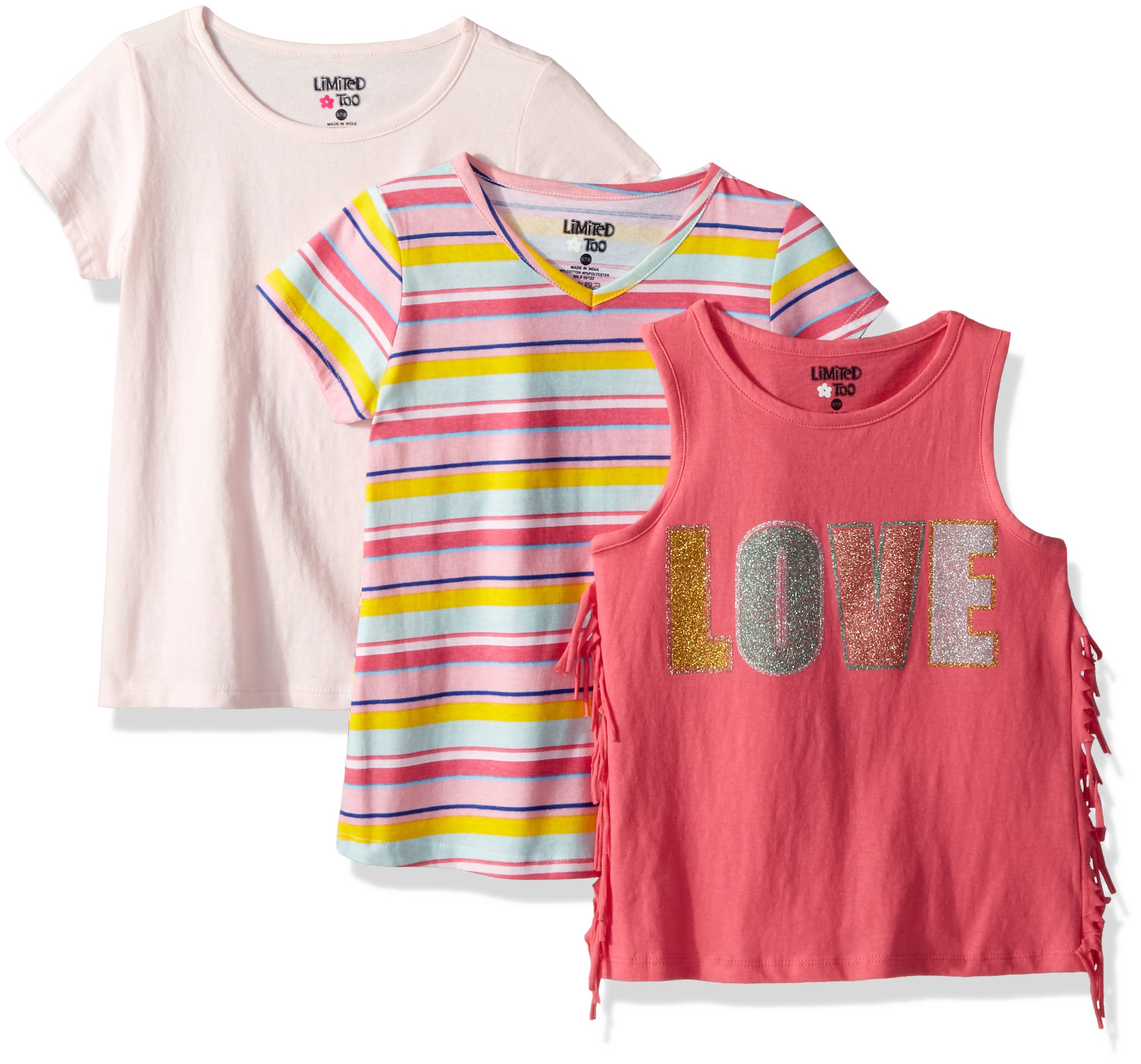 Limited Too Big Girls' 3 Pack T-Shirt, Love Fringe Tank Stripe Solid Multi Print, 7/8