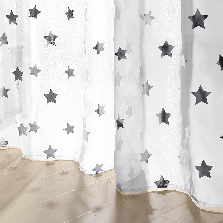 229x140 Deconovo Voile Transparent Gardinen /Ösen Vorh/änge Kinderzimmer 229x140 cm Wei/ß Gro/ßes Stern 2er Set Stoff
