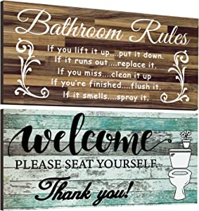 2 Pieces Funny Bathroom Wall Decor Sign Vintage Bathroom Wood Wall Signs Bathroom Welcome Please Seat Yourself Wooden Sign Rustic Bathroom Rules Wooden Plaque Farmhouse Bath Wall Art Sign, 12 x 6 Inch