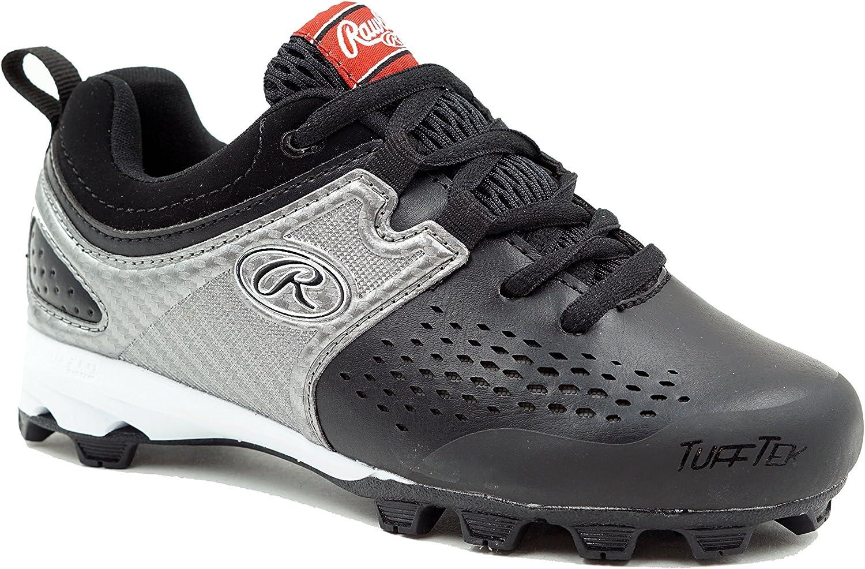 Black//Silver RAWLINGS Boys Clubhouse Baseball Shoe 4.5 Child US Little Kid