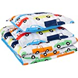 AmazonBasics Kid's Comforter Set - Soft, Easy-Wash Microfiber - Full/Queen, Multi-Color Racing Cars