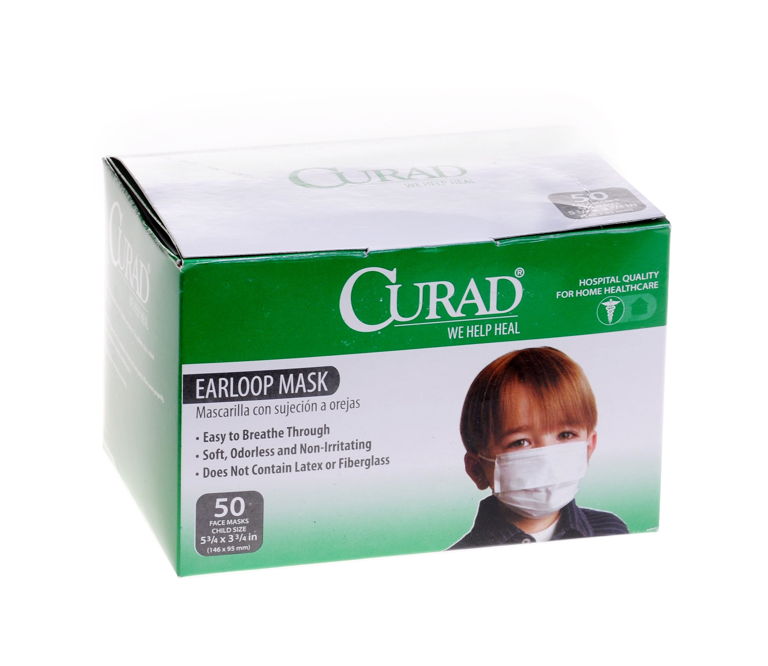 Curad CUR380 Face Mask with Ear Loops, 50 count, Child, White (Pack of 600) by Curad