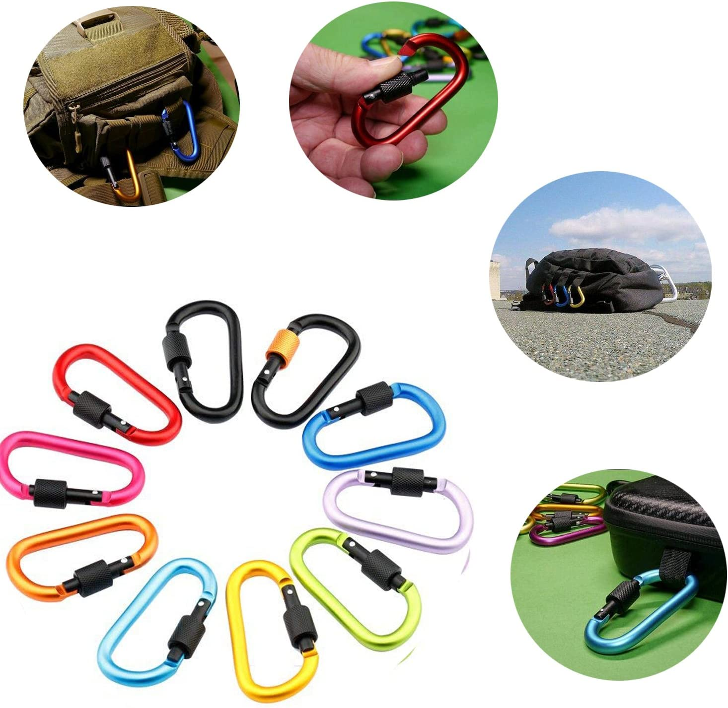 Spring-loaded D-Ring Key Chain Clip Hook For Camping Hiking Traveling Not for Climbing Firlar 10 PCS Locking Carabiner Premium Aluminum Alloy Carabiner