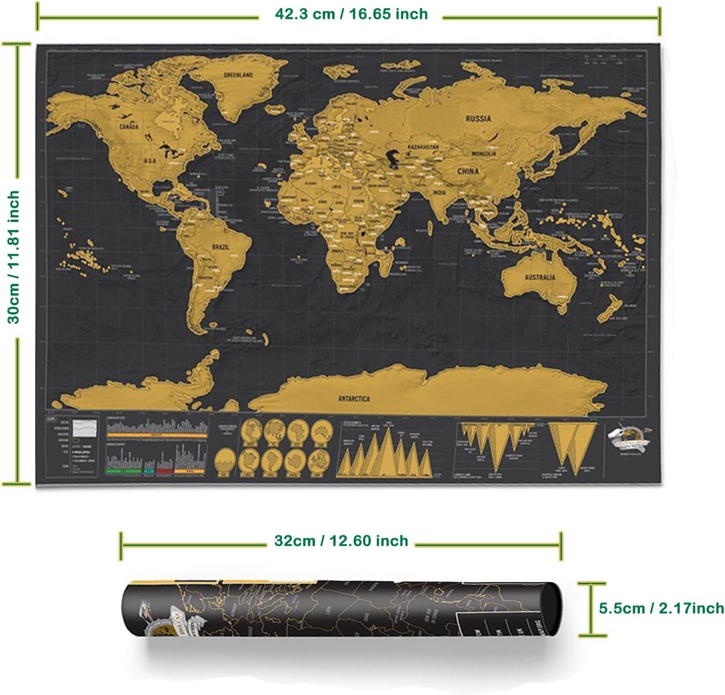 Mapa del Mundo para Rascar Deluxe Mapa mural para Rascar del Mundo Registra tus aventuras Perfecto para los Viajeros/ Exploradores/ Coleccionistas (Negro| 42.3 x 30 cm): Amazon.es: Juguetes y juegos