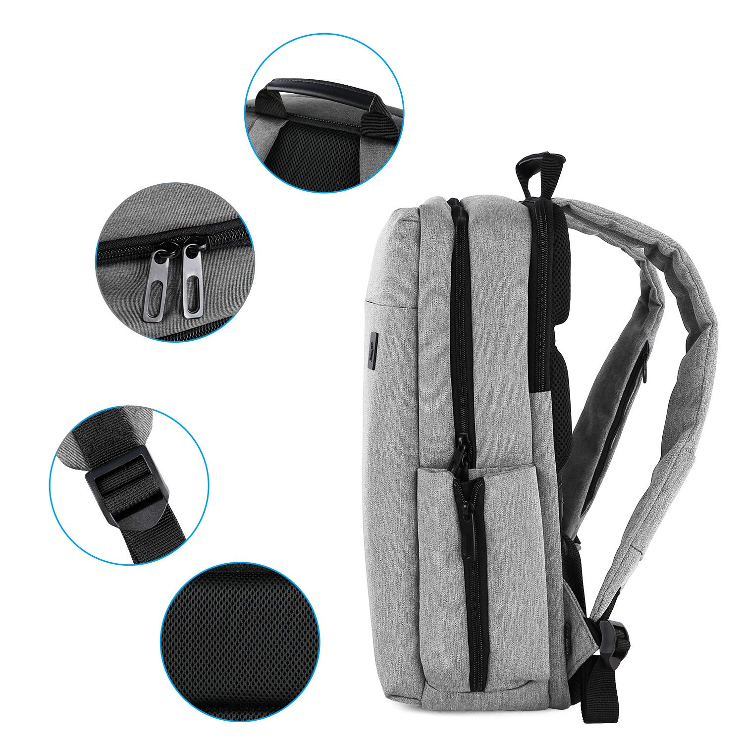 Cai 7331 Large Business Travel Backpack, Durable Multi-Functional Water Resistant, School College Commuting Bag with Headphones Port and luggage strap 15.6 \