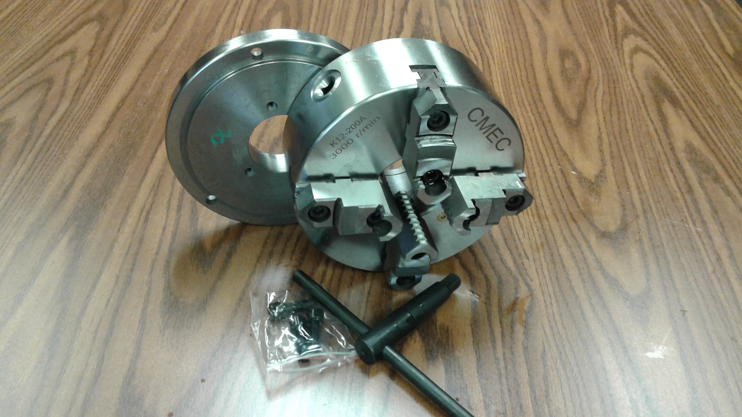 8'' 4-Jaw Self-Centering Lathe Chuck top&bottom jaws w. D1-4 adapter plate-new