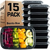 GUFARO Premium Meal Prep Containers Reusable 32oz - Giant 15 Pack. Choose 1, 3, 4 Compartment with Matching Airtight Freshness Lids. BPA Free, Microwavable Bento Lunch Box - 4 Compartment