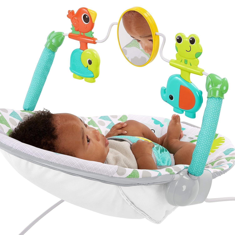 Spinnin Safari Wippe mit Vibrationen interaktiven Spielzeugen Sicherheitsgurt und rutschfesten F/ü/ßen Bright Starts