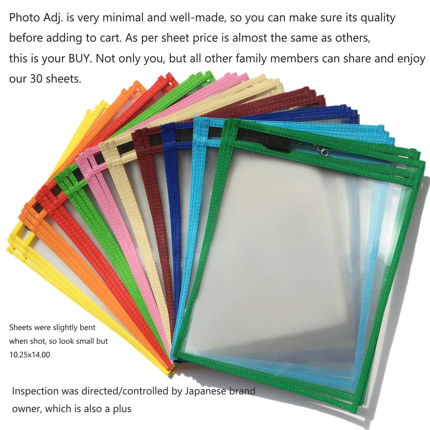 Office Organizer Max Use with Versatility 10 Colors 30 Pack Blue Novalis Multi-Purpose Dry Erase Pocket Sleeves School Supplies 10.25 x 14.00 in