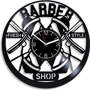 Kovides Barbershop Vinyl Record Wall Clock Gift for Him Barbershop Wall Art Barbershop Clock Barbershop Gift Barbershop Vinyl Clock Barbershop Home Decoration 12 inch Wall Clock