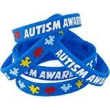 Forge Autism Awareness Wristbands - Colorful Puzzle Pieces Silicone Bracelets (10 Wristbands)
