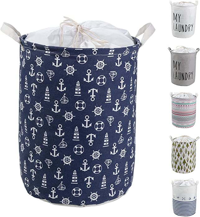 HeyToo 17.7in Drawstring Waterproof Foldable Laundry Hamper,Dirty Clothes Laundry Basket,Handle Linen Bin Storage Organizer for Toy Collection Navy Anchor