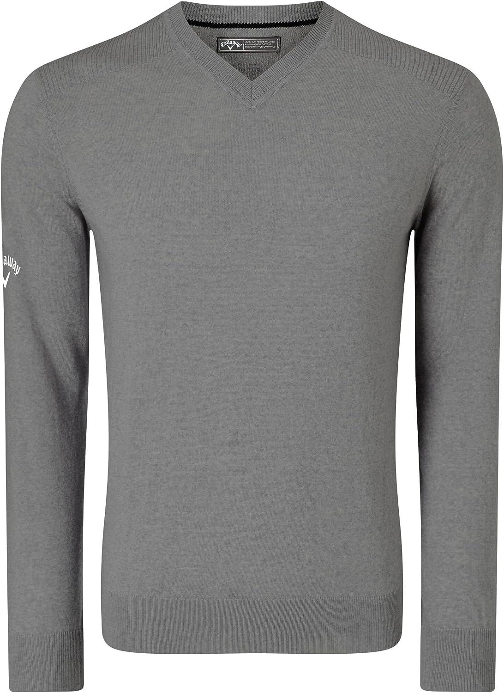 Amazon Com Callaway Mens Ribbed V Neck Merino Sweater Clothing