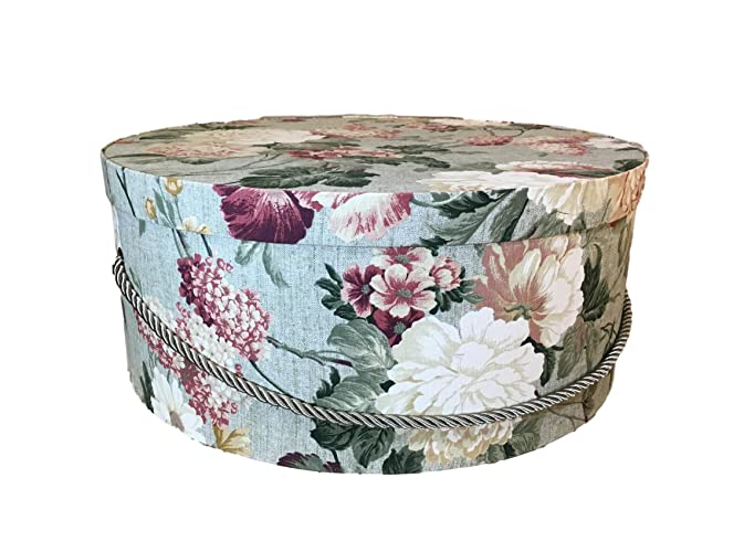 Extra Large Hat Box In Green Floral, Large Decorative Fabric Covered Hat  Boxes, Round