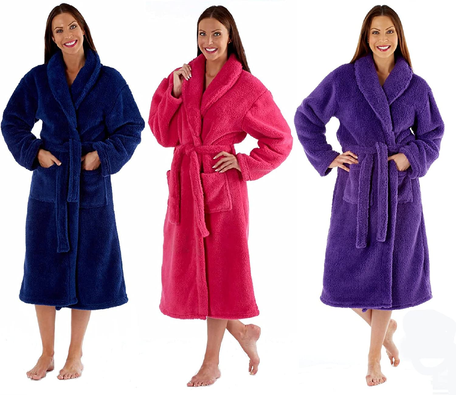 Ladies Fleece Dressing Gown Luxury Robe Navy Blue Pink Purple - Size ...