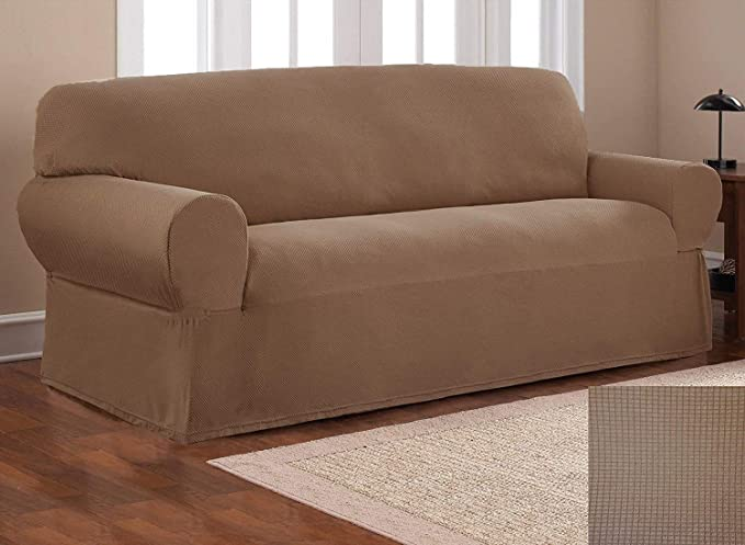 Fancy Collection Sure Fit Stretch Fabric Sofa Slipcover Sofa and Love Seat Covers Solid New #Stella (Light Brown/Mocha, 2 pc Set)