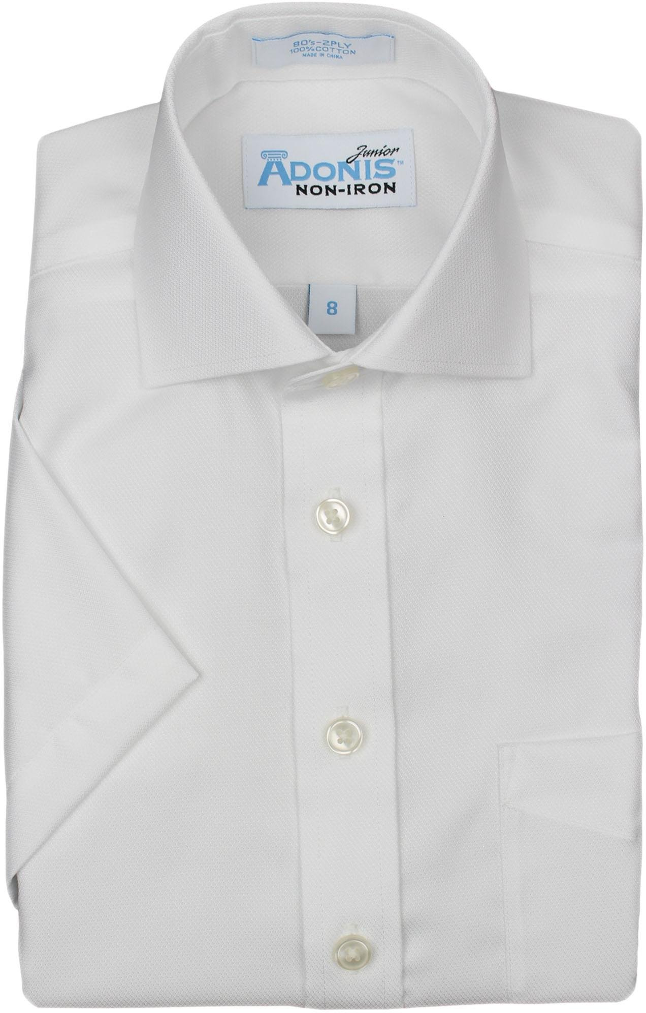 Adonis Boys 100% Cotton NI White Fine Pique Texture Short Sleeve Dress Shirt - White, 18
