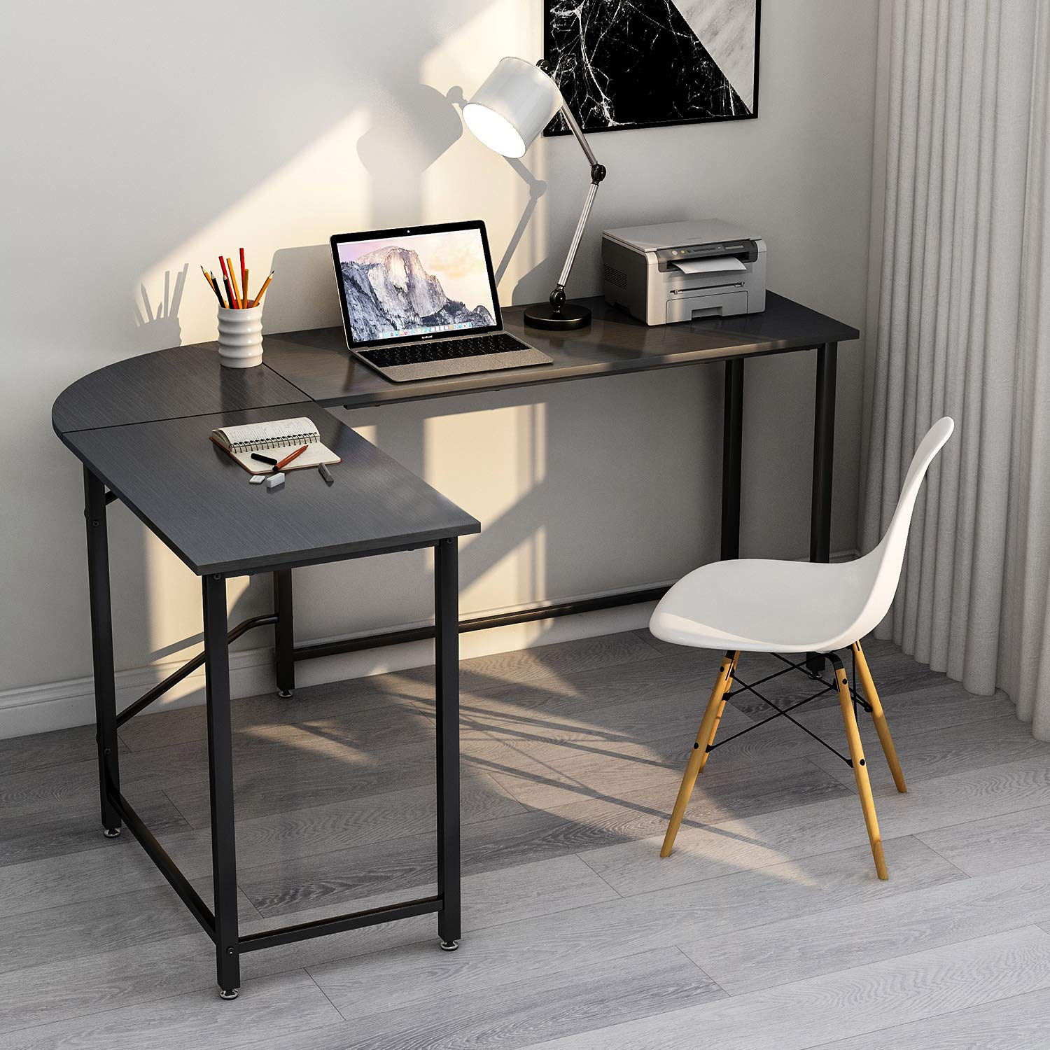ModernLuxe WF036968BAA L-Shape Home Office Corner Computer Desk PC Laptop Table Workstation Wood Metal Black