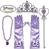 Alead princesa Rapunzel morado vestir accesorios para las niñas 4 piezas tiara,varita mágica,guantes y collar … (Lavanda)